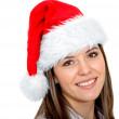 Girl with Santa hat — Stock Photo