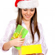 Stock Photo: Girl opening gifts