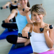 Aerobics class with free weights — Stock Photo #7741722