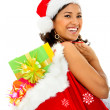 Stock Photo: Santa woman with presents