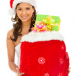 Santa woman with presents — Stock Photo