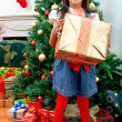 Girl with Christmas gift — Stock Photo #7741789