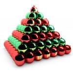 Christmas balls pyramid — Stock Photo