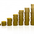 Pile of coins ascending — Stock Photo