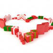 Christmas present creating a heart — Stock Photo
