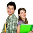 Couple of students smiling — Stock Photo
