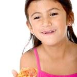 Kid eating pizza — Stock Photo
