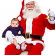 Santa with a baby — Stock Photo