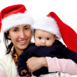 Family with Santa hat — Stock Photo