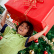 Boy carrying a Christmas present - Foto de Stock