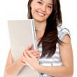 Stock Photo: Girl with a laptop