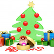 Christmas tree with present — Stock Photo