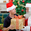 Man with Santa Claus — Stock Photo