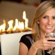 Woman at a romantic dinner - Stock Photo