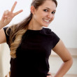 Happy wommaking hand sign — Stock Photo #7742443