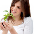Woman holding a plant - Foto de Stock  