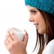 Winter woman drinking hot chocolate — Stock Photo