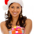 Female Santa with a gift — Stock Photo #7742477