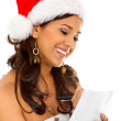 Christmas woman with present's list — Stok fotoğraf