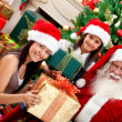 Stock Photo: Girls with Santa Claus