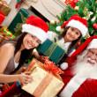 Girls with Santa Claus — Stock Photo