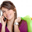 Shopping woman on the phone — Stock Photo #7742701