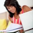 Stock Photo: Beautiful girl studying