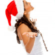 Royalty-Free Stock Photo: Santa woman waiting for something
