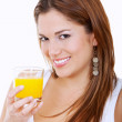 Woman drinking orange juice — Stock Photo