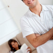 Casual couple at home — Stock Photo