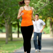 Woman jogging outdoors — Stock Photo