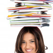 Woman with notebooks — Stock Photo