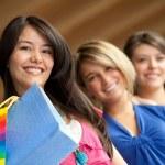 Shopping women smiling — Stock Photo