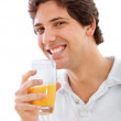 Man drinking juice - Stock Photo