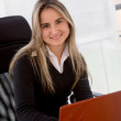 Foto Stock: Business woman with laptop