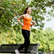 Woman running outdoors — Stock Photo
