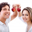 Couple holding some apples — Stock Photo