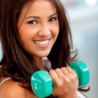Womlifting free weights — Stock Photo #7746702