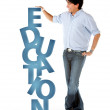 Man with word education — Stock Photo
