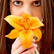 Womsmelling flower — Stock Photo #7746775