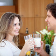 Couple having breakfast - Stock Photo