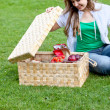 Woman having a picnic — Stock Photo