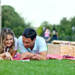 Stock Photo: Couple at picnic