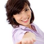 Business woman extending her hand — Stock Photo
