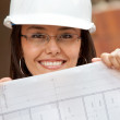 Stock Photo: Architect with blueprints