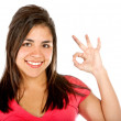 Girl doing ok sign - Stock Photo