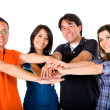 Group with hands together — Stock Photo