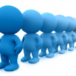 blue 3d men in line — Stock Photo