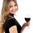 Woman and wine - Stock Photo