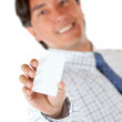 Man with a business card — Stock Photo